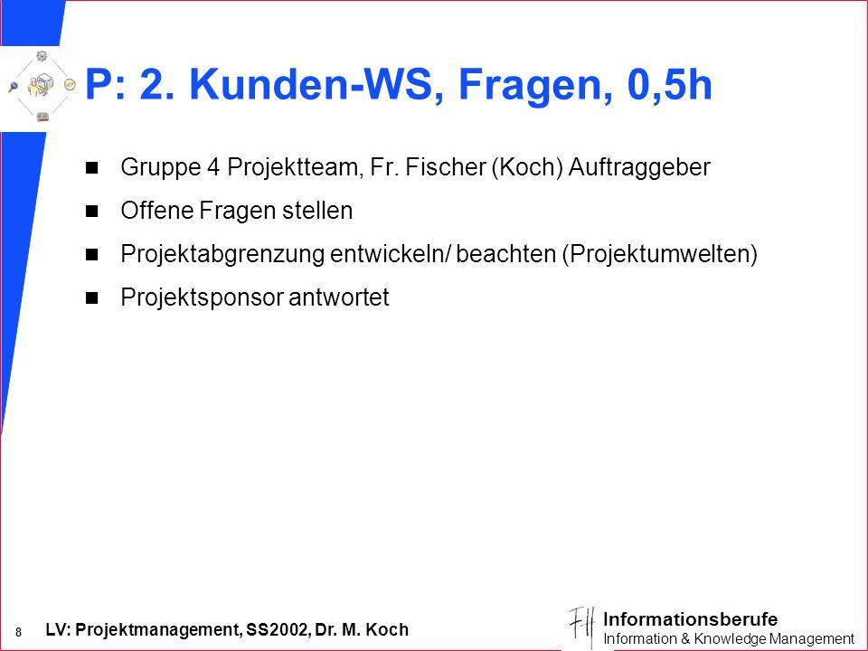 P: 2. Kunden-WS, Fragen, 0,5h Gruppe 4 Projektteam, Fr. Fischer (Koch) Auftraggeber. Offene Fragen stellen.
