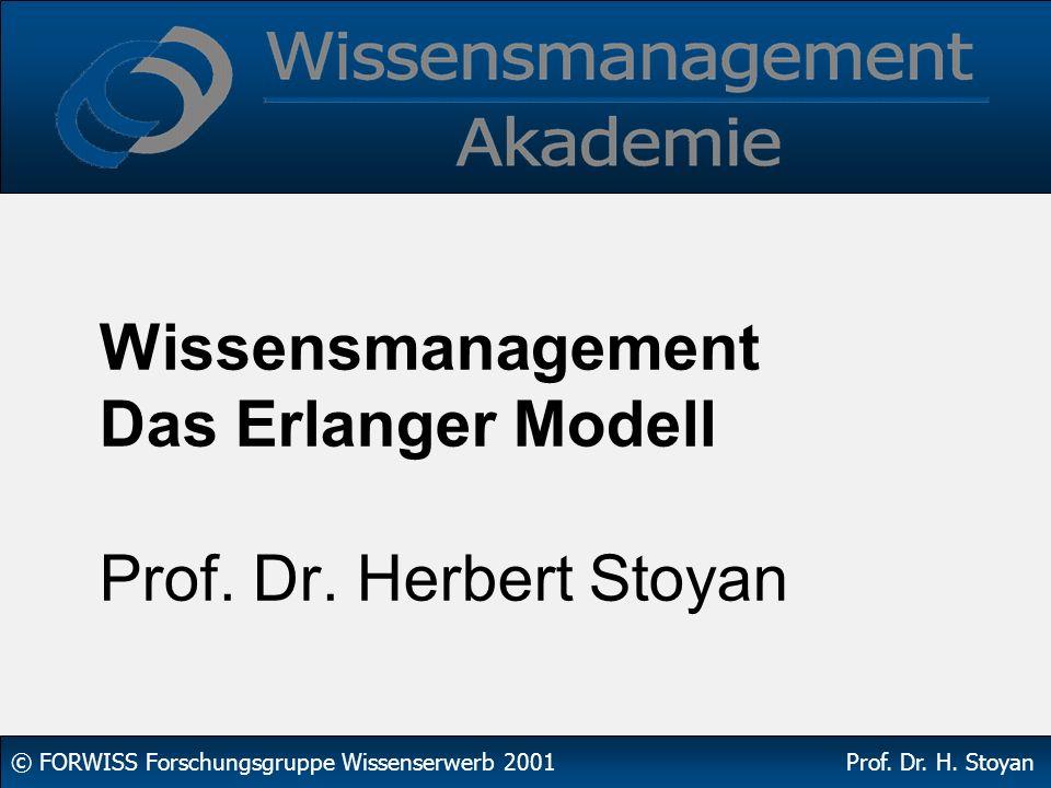 Wissensmanagement Das Erlanger Modell Prof. Dr. Herbert Stoyan