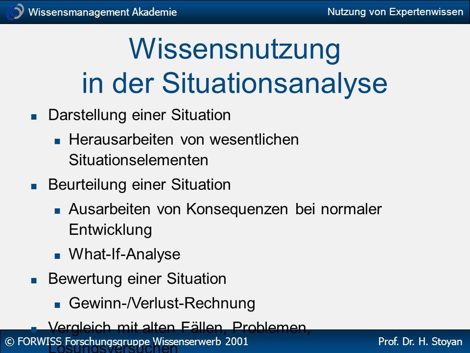 Wissensnutzung in der Situationsanalyse