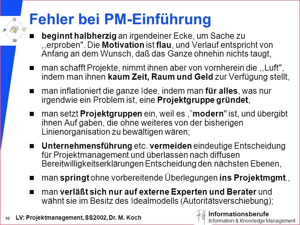 Fehler bei PM-Einführung