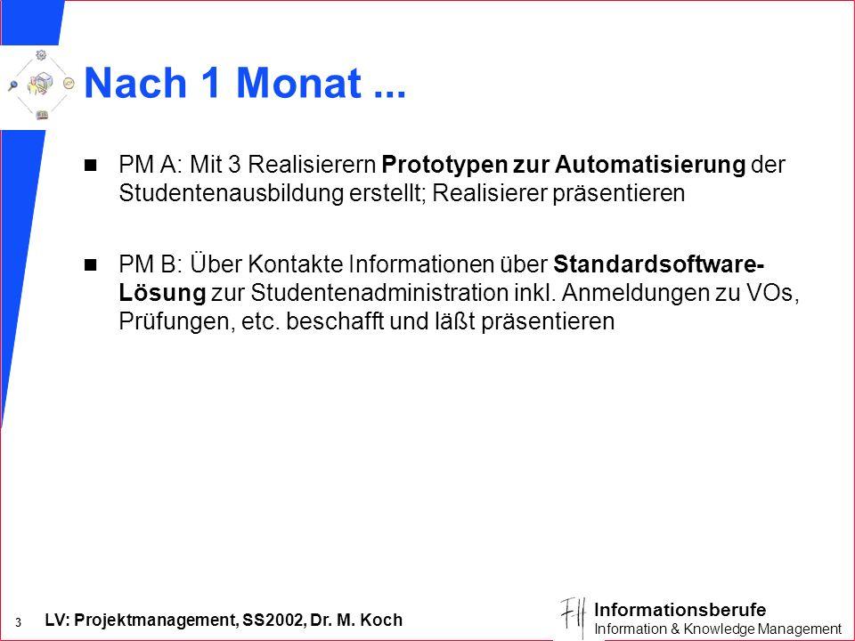 Nach 1 Monat ... PM A: Mit 3 Realisierern Prototypen zur Automatisierung der Studentenausbildung erstellt; Realisierer präsentieren.