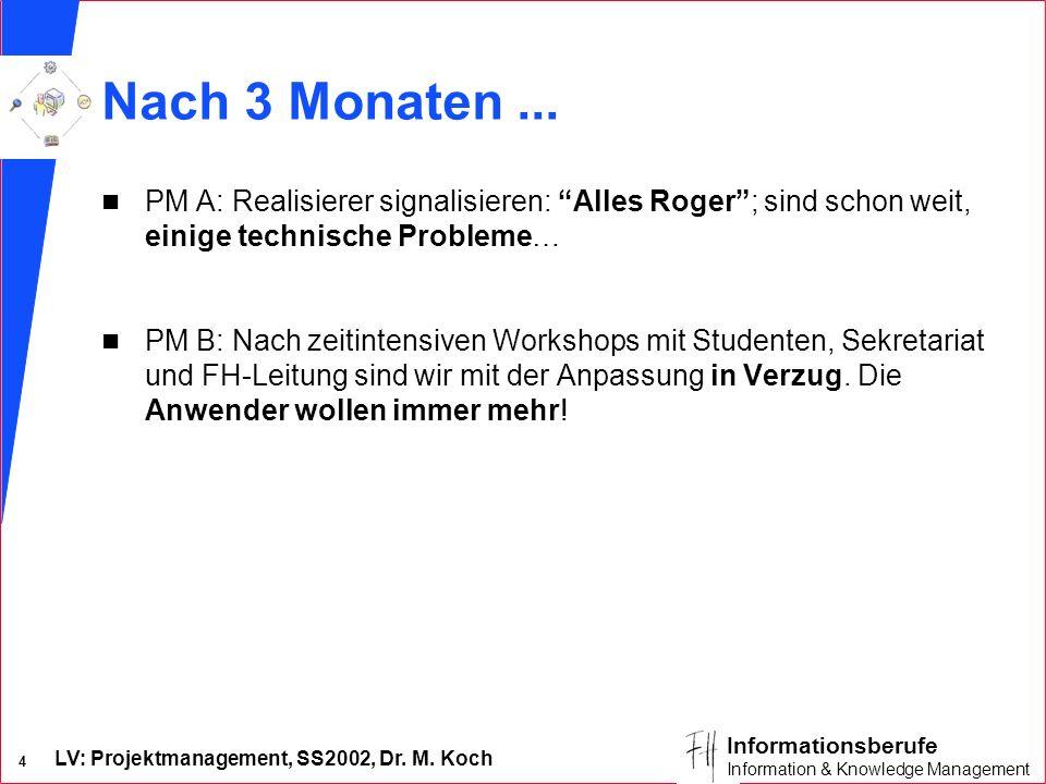 Nach 3 Monaten ... PM A: Realisierer signalisieren: Alles Roger ; sind schon weit, einige technische Probleme…