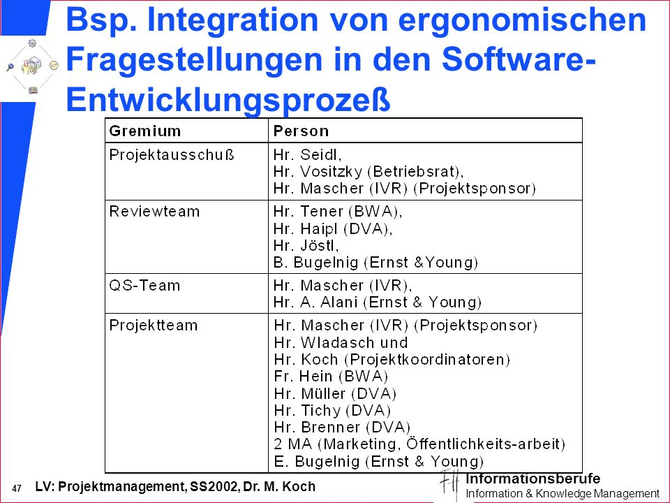 Bsp. Integration von ergonomischen Fragestellungen in den Software-Entwicklungsprozeß