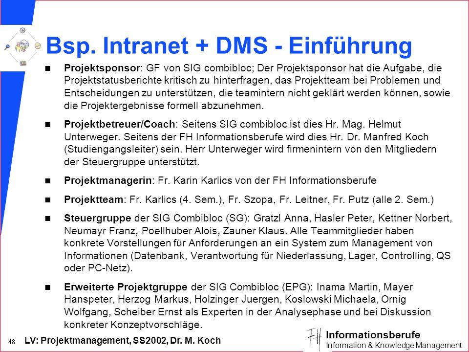 Bsp. Intranet + DMS - Einführung
