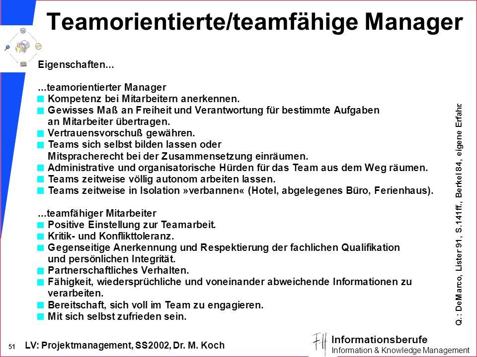 Teamorientierte/teamfähige Manager