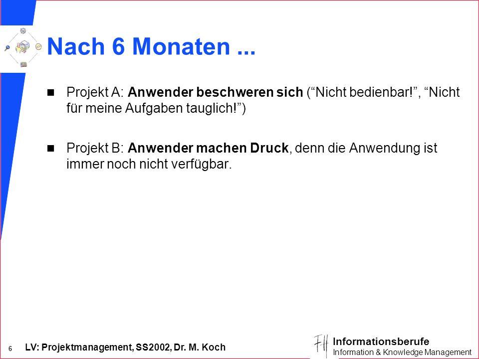 Nach 6 Monaten ... Projekt A: Anwender beschweren sich ( Nicht bedienbar! , Nicht für meine Aufgaben tauglich! )