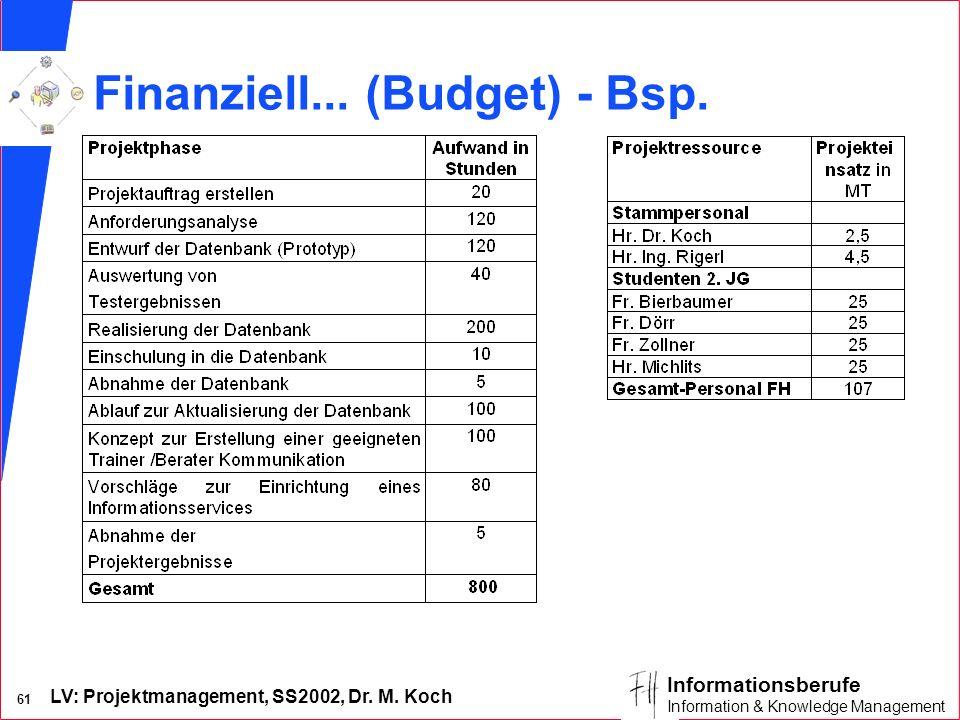 Finanziell... (Budget) - Bsp.