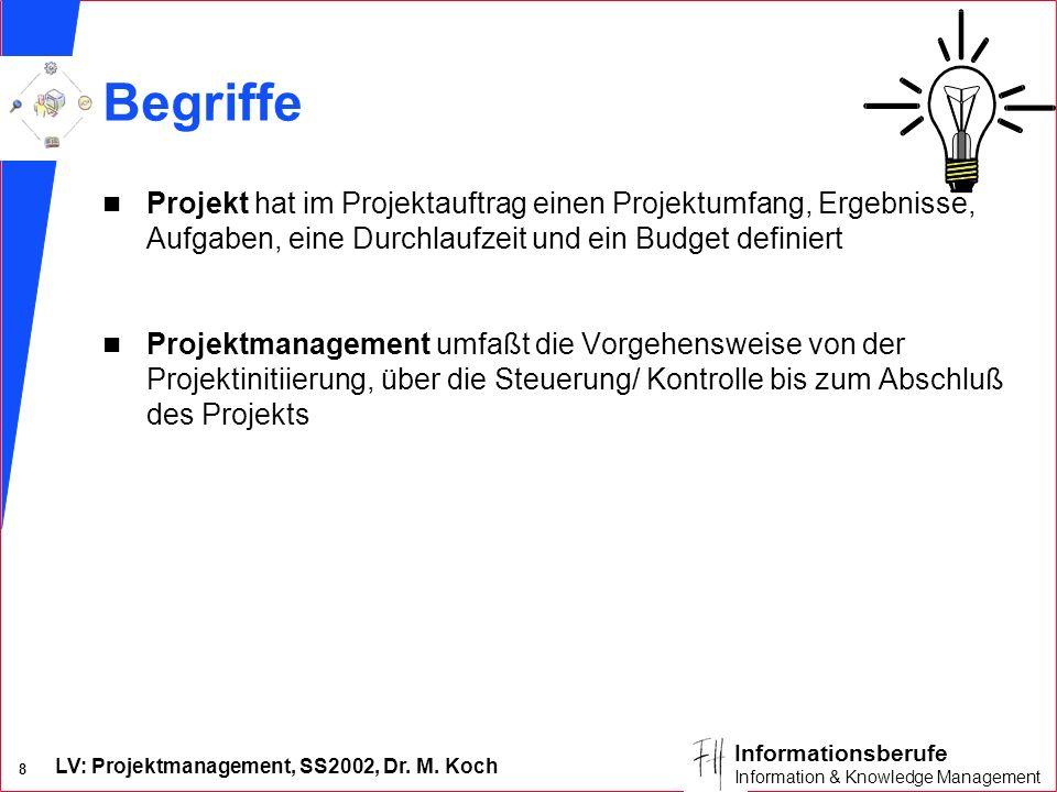 09/02/96 Begriffe. Projekt hat im Projektauftrag einen Projektumfang, Ergebnisse, Aufgaben, eine Durchlaufzeit und ein Budget definiert.