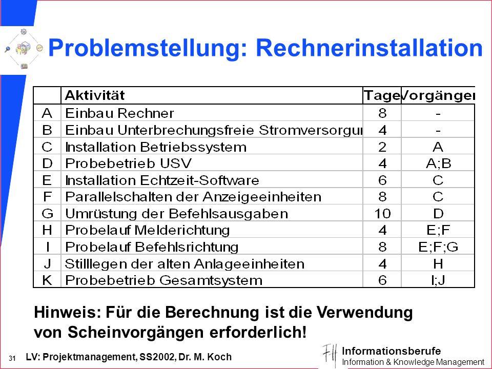 Problemstellung: Rechnerinstallation