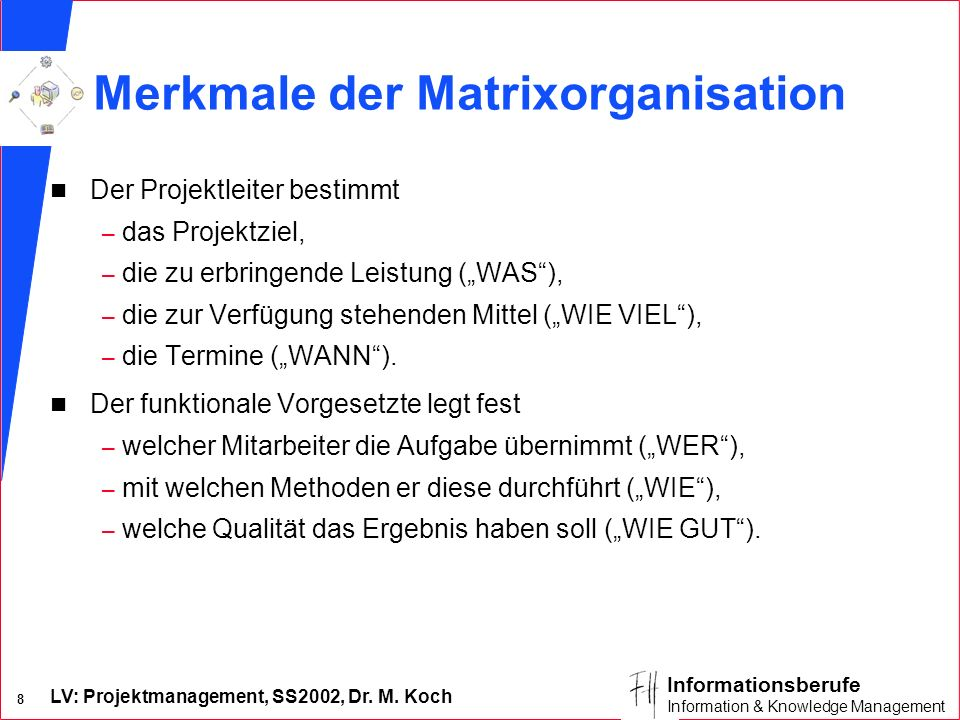 Merkmale der Matrixorganisation