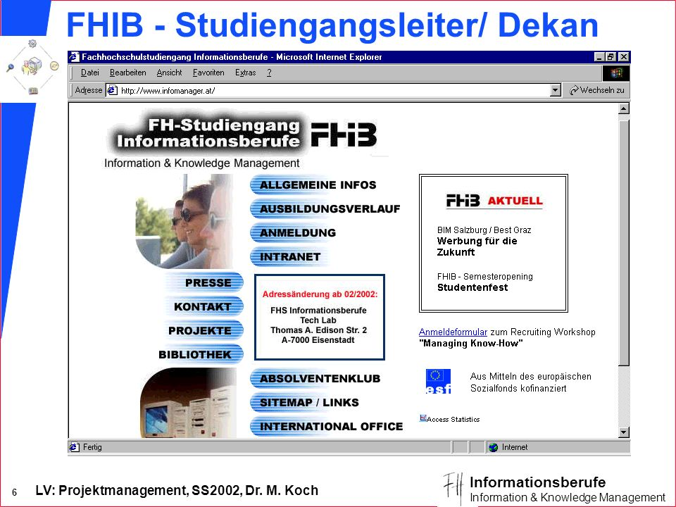 FHIB - Studiengangsleiter/ Dekan