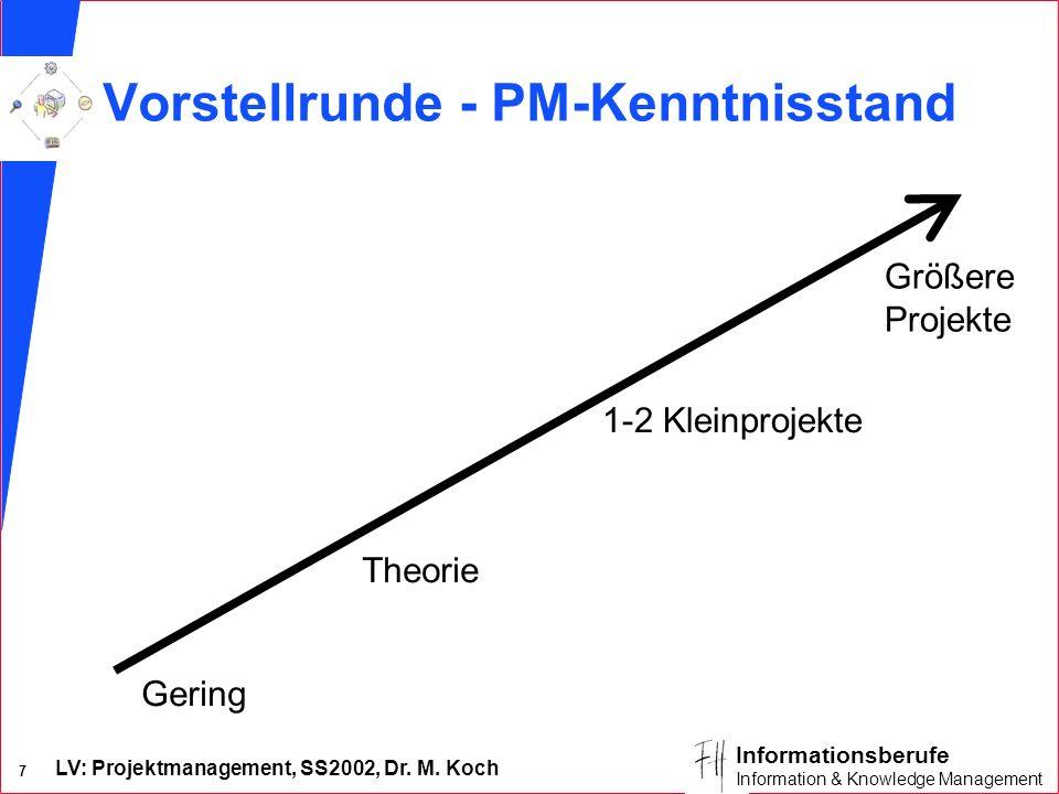 Vorstellrunde - PM-Kenntnisstand