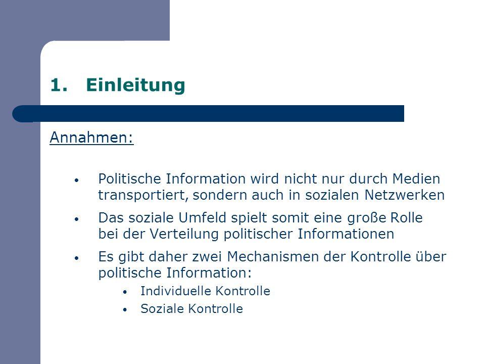 Einleitung Annahmen: Politische Information wird nicht nur durch Medien transportiert, sondern auch in sozialen Netzwerken.