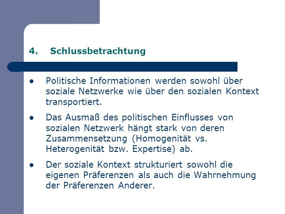 Schlussbetrachtung Politische Informationen werden sowohl über soziale Netzwerke wie über den sozialen Kontext transportiert.