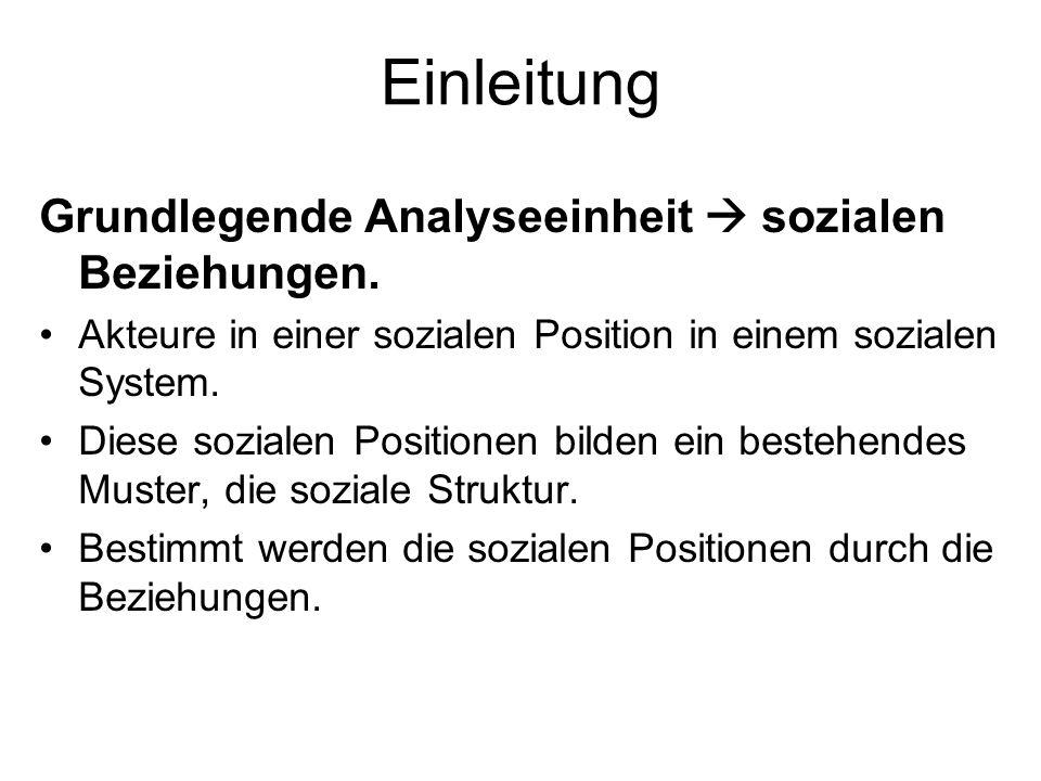 Einleitung Grundlegende Analyseeinheit  sozialen Beziehungen.