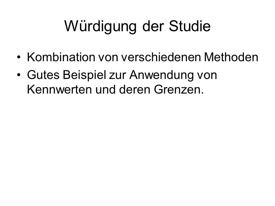 Würdigung der Studie Kombination von verschiedenen Methoden