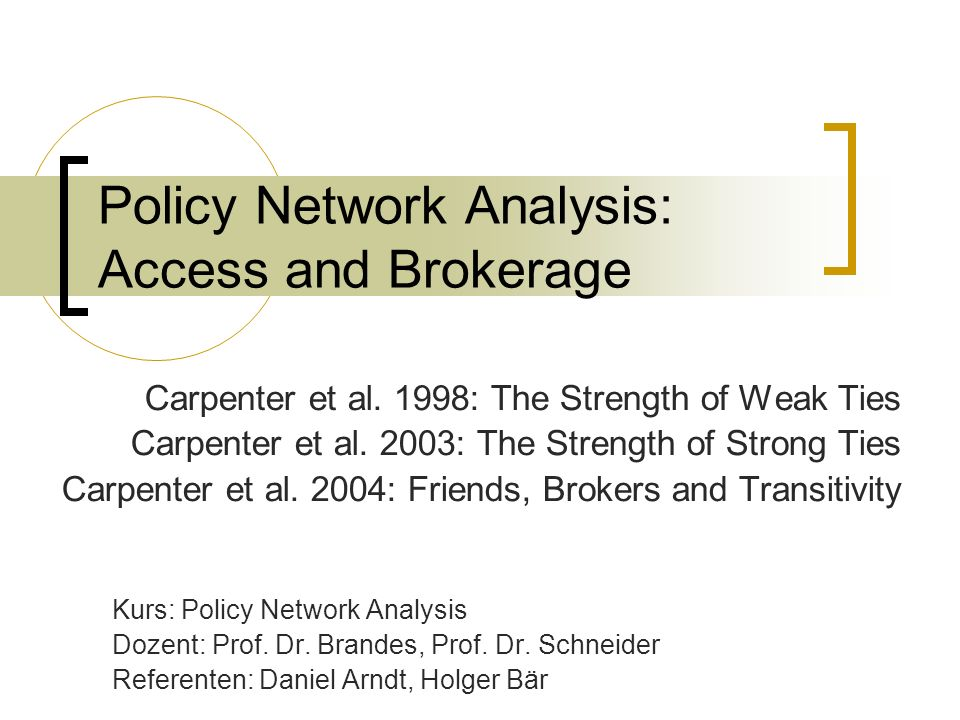 Policy Network Analysis: Access and Brokerage