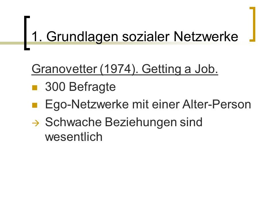 1. Grundlagen sozialer Netzwerke