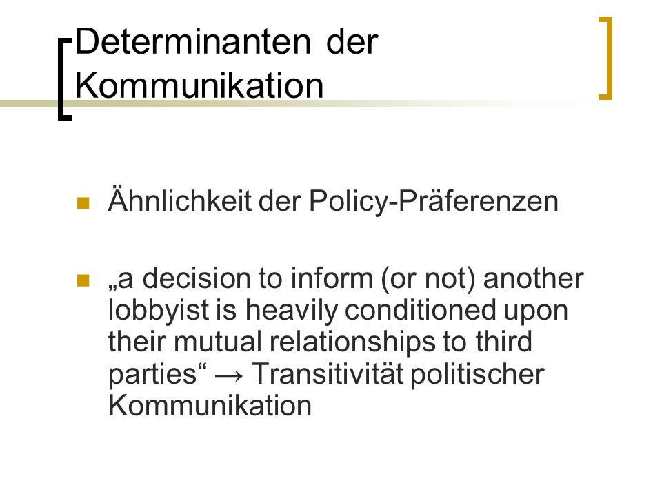 Determinanten der Kommunikation