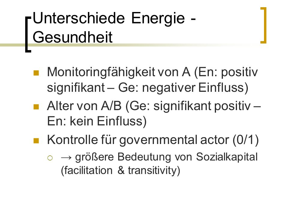 Unterschiede Energie - Gesundheit