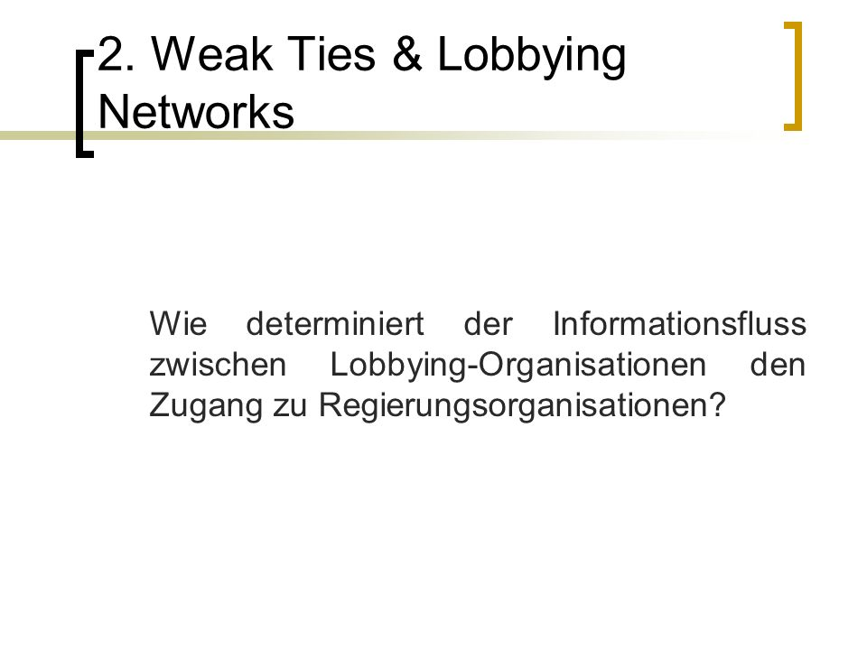 2. Weak Ties & Lobbying Networks