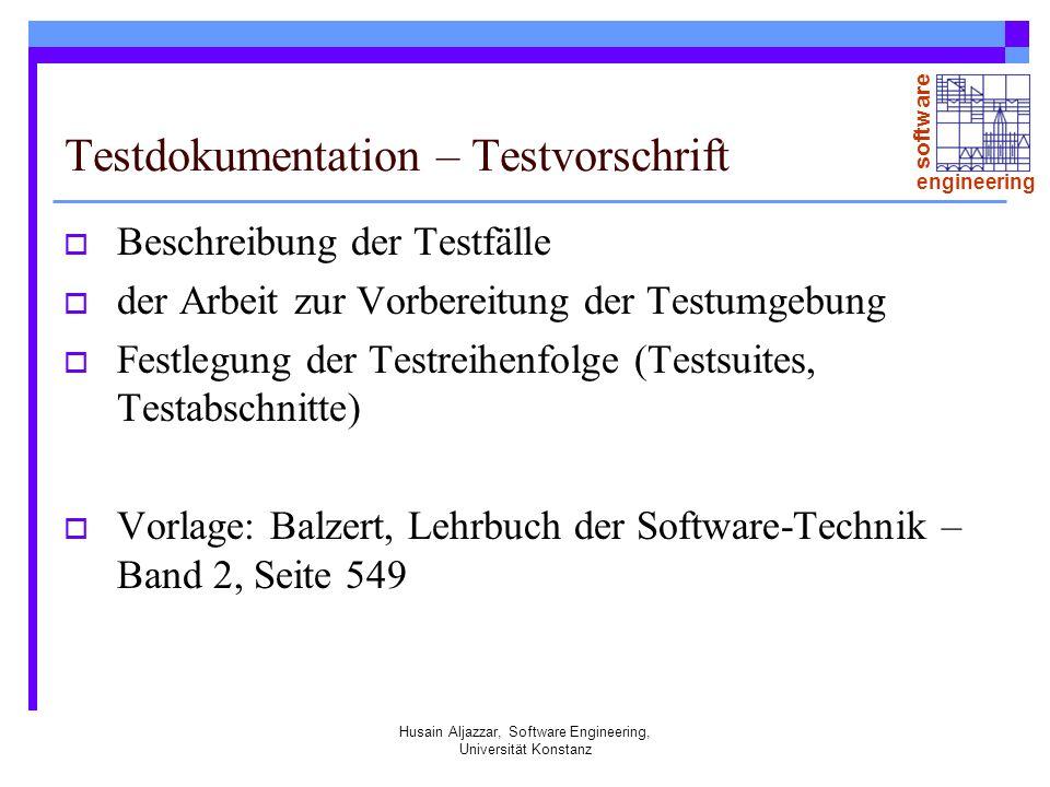 Testdokumentation – Testvorschrift