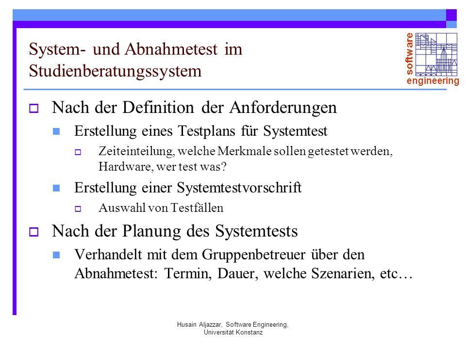 System- und Abnahmetest im Studienberatungssystem