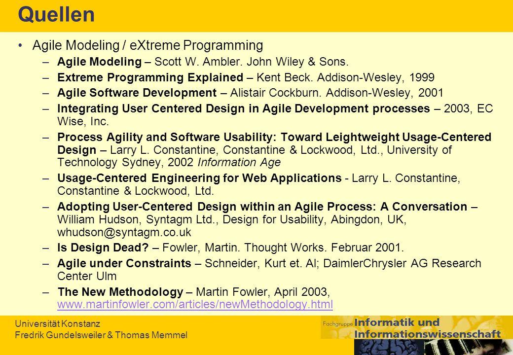 Quellen Agile Modeling / eXtreme Programming