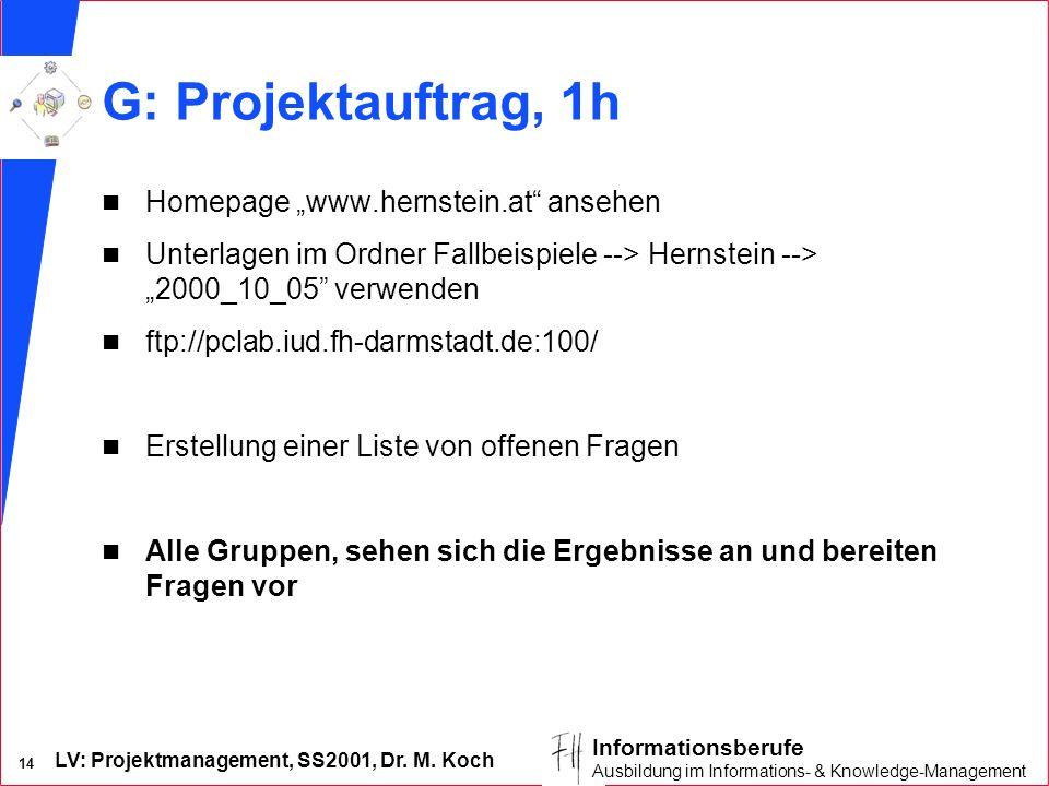 """G: Projektauftrag, 1h Homepage """"www.hernstein.at ansehen"""