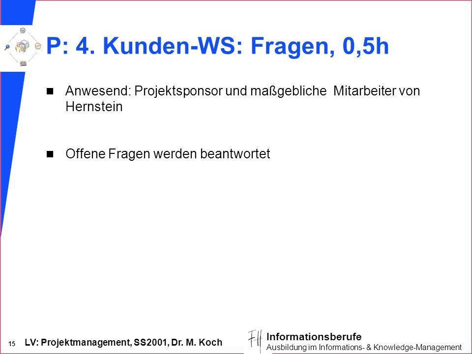 P: 4. Kunden-WS: Fragen, 0,5h Anwesend: Projektsponsor und maßgebliche Mitarbeiter von Hernstein.
