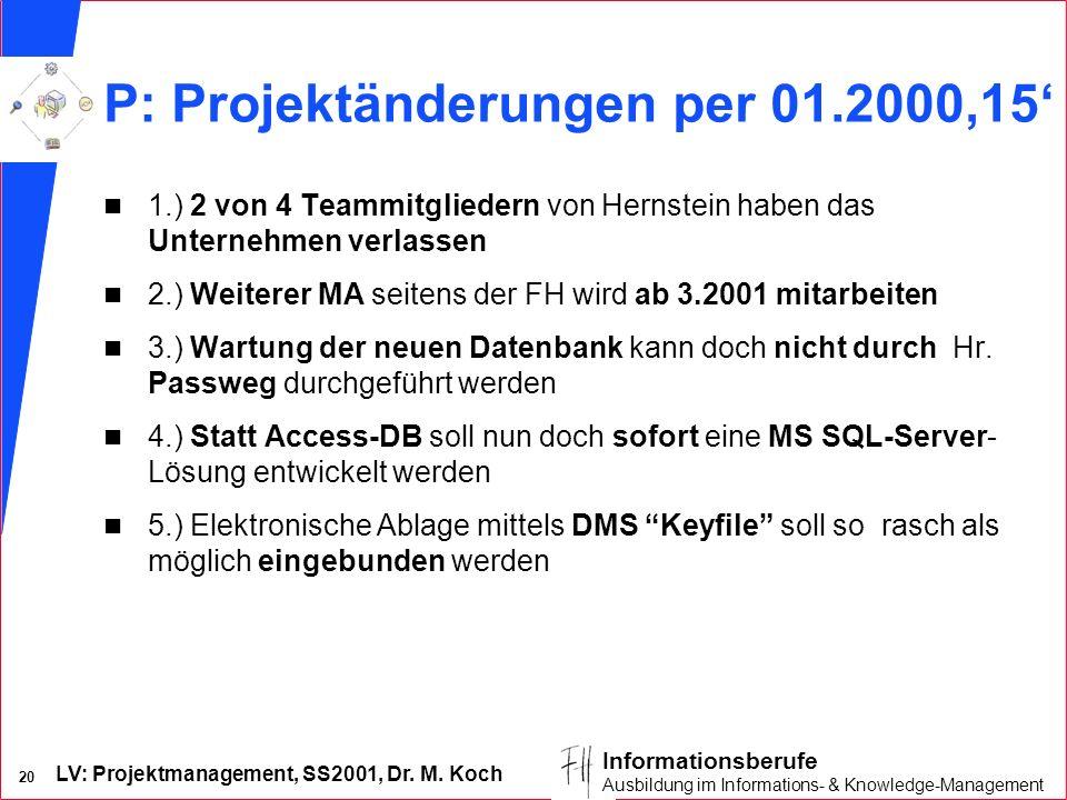 P: Projektänderungen per 01.2000,15'