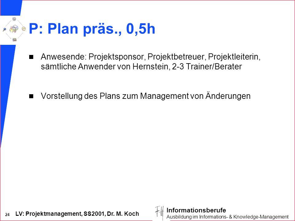 P: Plan präs., 0,5h Anwesende: Projektsponsor, Projektbetreuer, Projektleiterin, sämtliche Anwender von Hernstein, 2-3 Trainer/Berater.