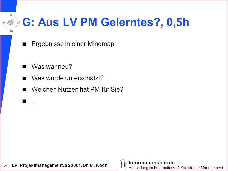 G: Aus LV PM Gelerntes , 0,5h Ergebnisse in einer Mindmap Was war neu