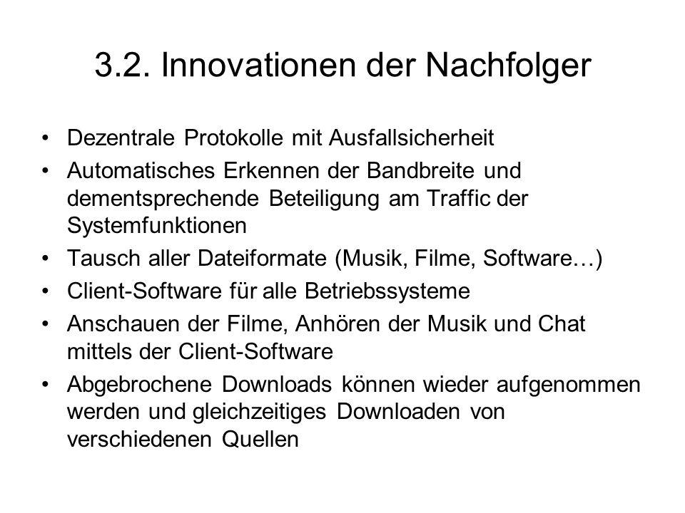 3.2. Innovationen der Nachfolger
