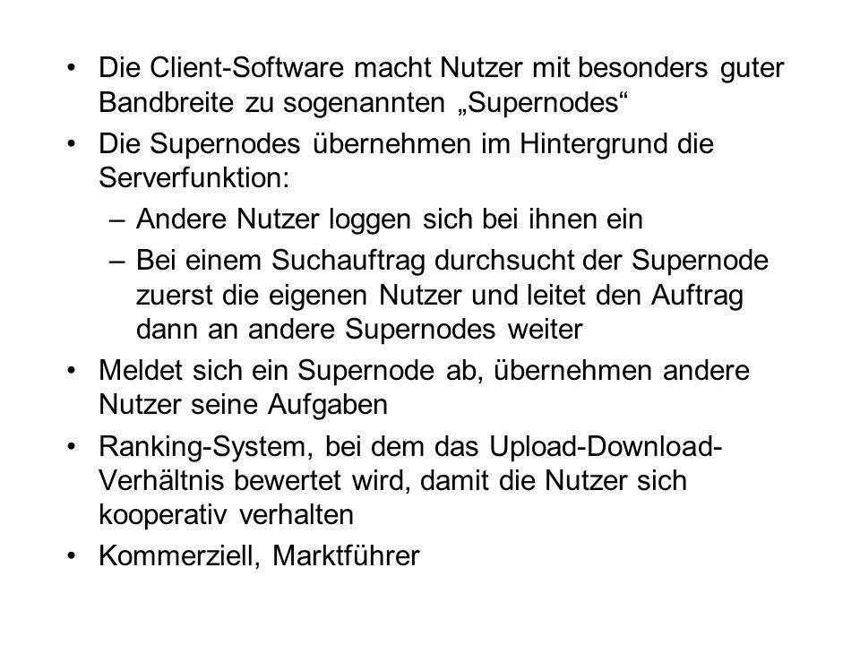 """Die Client-Software macht Nutzer mit besonders guter Bandbreite zu sogenannten """"Supernodes"""