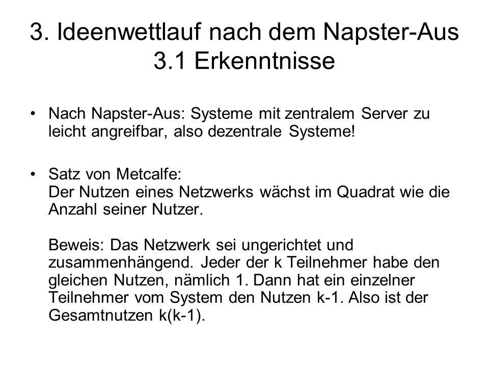 3. Ideenwettlauf nach dem Napster-Aus 3.1 Erkenntnisse