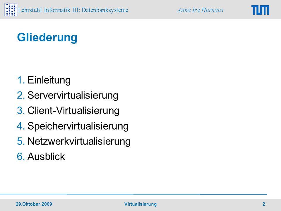 Gliederung Einleitung Servervirtualisierung Client-Virtualisierung