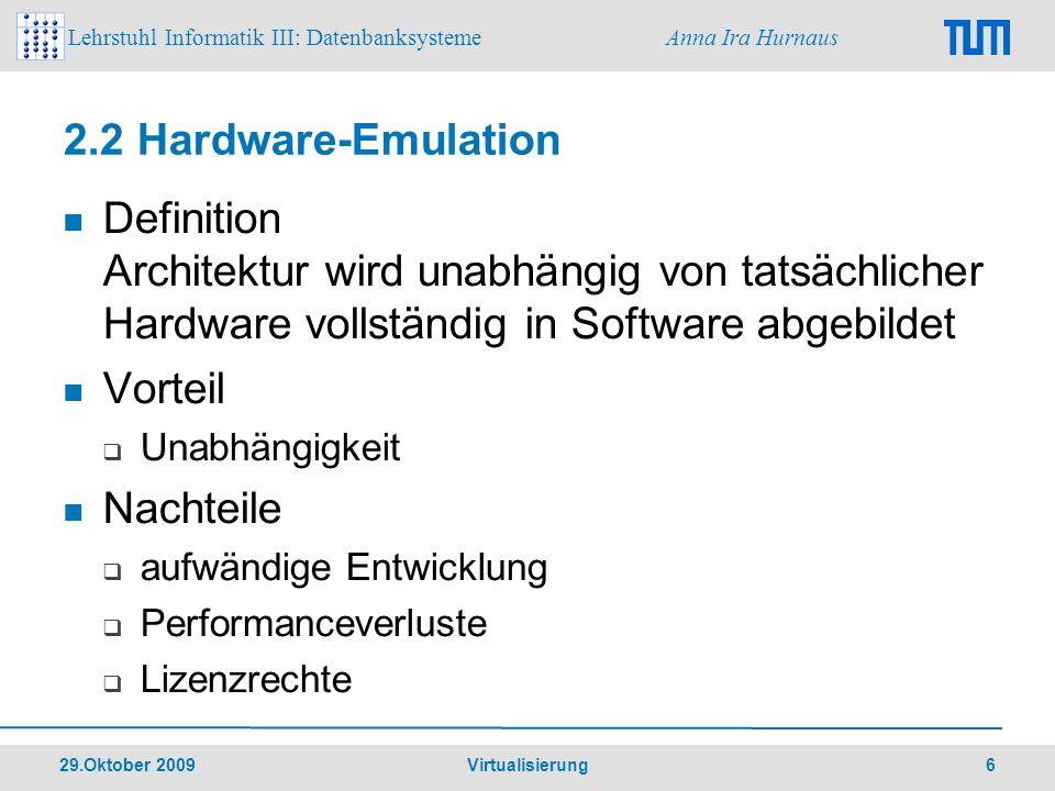 2.2 Hardware-Emulation Definition Architektur wird unabhängig von tatsächlicher Hardware vollständig in Software abgebildet.
