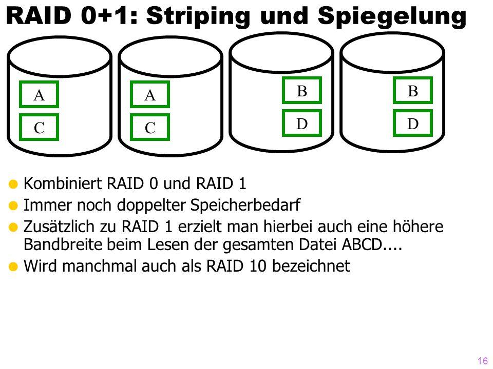 RAID 0+1: Striping und Spiegelung