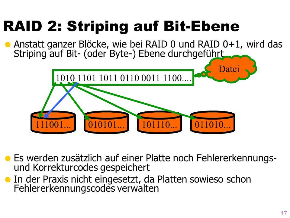 RAID 2: Striping auf Bit-Ebene