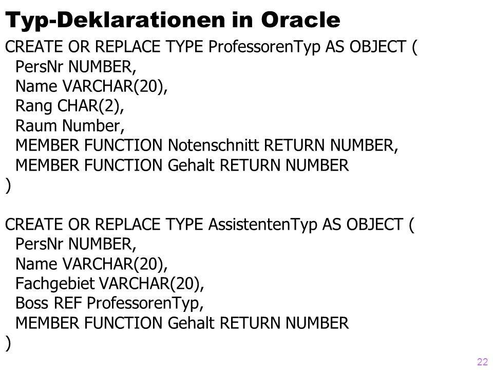 Typ-Deklarationen in Oracle