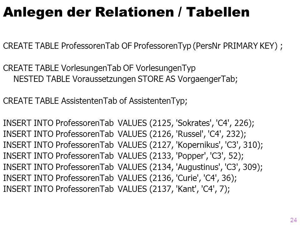 Anlegen der Relationen / Tabellen