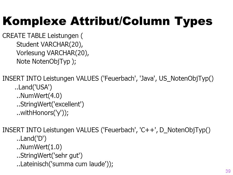 Komplexe Attribut/Column Types