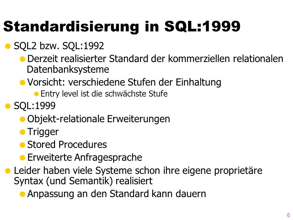 Standardisierung in SQL:1999