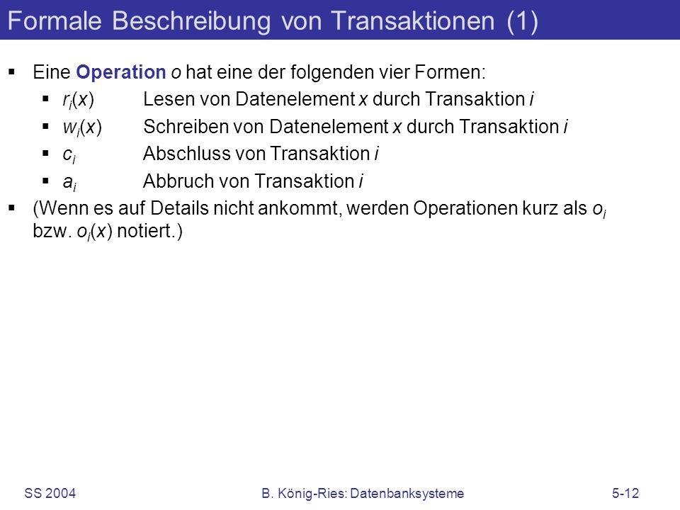 Formale Beschreibung von Transaktionen (1)