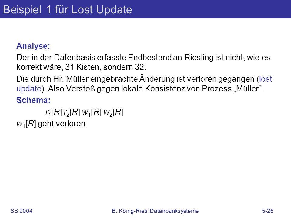 Beispiel 1 für Lost Update