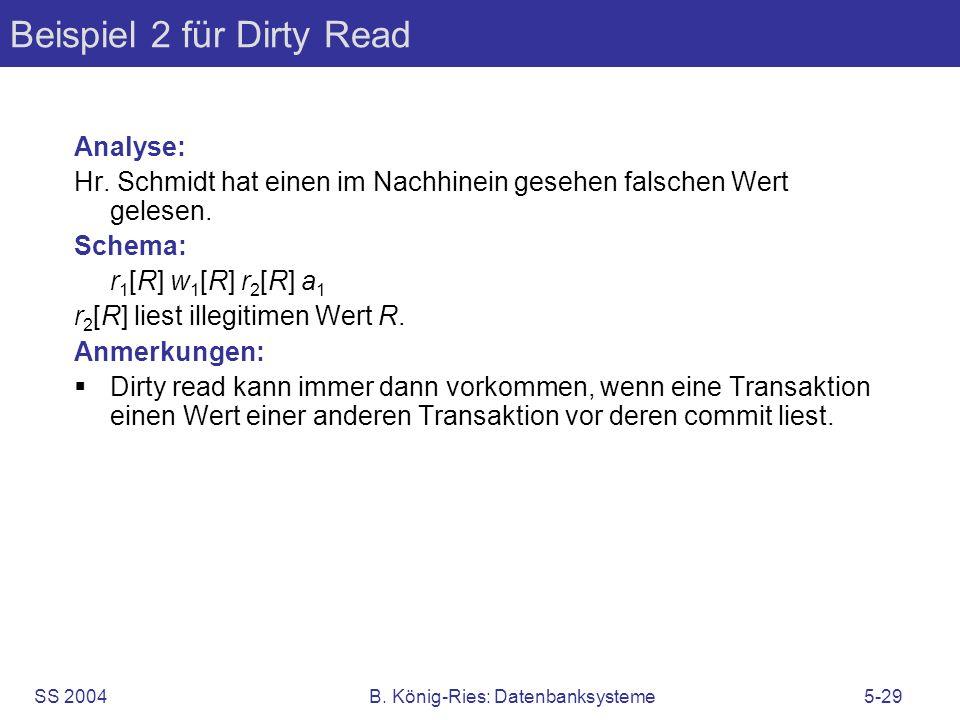 Beispiel 2 für Dirty Read