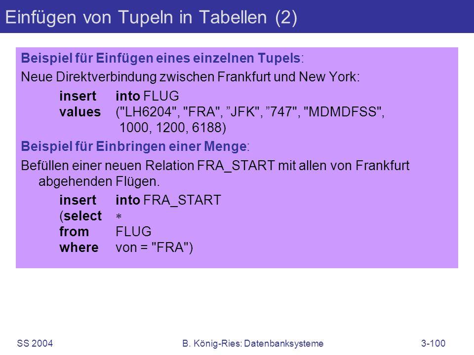 Einfügen von Tupeln in Tabellen (2)