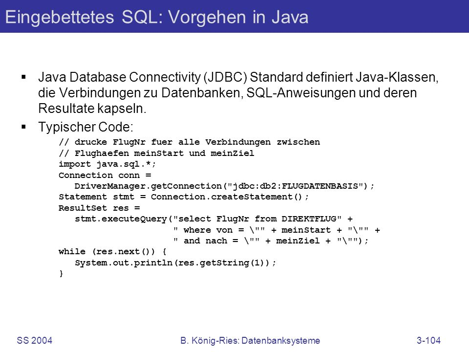 Eingebettetes SQL: Vorgehen in Java