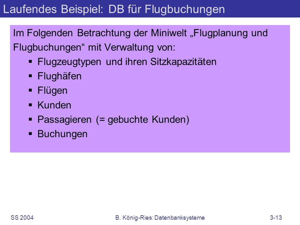 Laufendes Beispiel: DB für Flugbuchungen